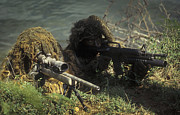 Ghillie Suits Prints - A Seal Sniper Swim Pair Set Up An Print by Michael Wood