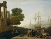 Flags Paintings - A Seaport at Sunset by Claude Lorrain