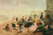 Sandy Beaches Painting Prints - A Seaside Scene  Print by Jane Maria Bowkett
