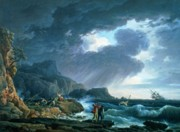 Ocean Storm Framed Prints - A Seastorm Framed Print by Claude Joseph Vernet