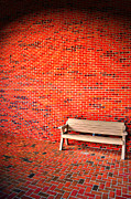 Brick Building Prints - A Seat Between the Brick Print by Emily Stauring