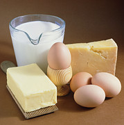 Dairy Foods Framed Prints - A Selection Of Dairy Produce And Eggs. Framed Print by Tony Craddock