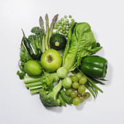 Green Color Art - A Selection Of Green Fruits & Vegetables by David Malan