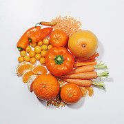Tangerine Posters - A Selection Of Orange Fruits & Vegetables Poster by David Malan