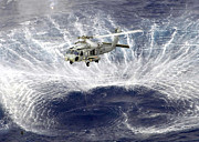 Helicopter Art - A Sh-60f Seahawk Helicopter Hovers by Stocktrek Images