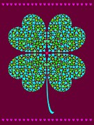 Four Leaf Clover Posters - A Shamrock Made Of Smaller Hearts Poster by Elmira Amirova