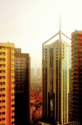 Shanghai China Tapestries Textiles Originals - A Shanghai Sunset by Christine Till