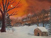 Shed Painting Framed Prints - A Shed in Winter Framed Print by Keith Erskine