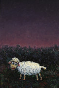 Night Painting Metal Prints - A sheep in the dark Metal Print by James W Johnson