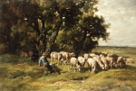 Seated Paintings - A shepherd and his flock by Charles Emile Jacques