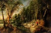 Woodland Scenes Painting Posters - A Shepherd with his Flock in a Woody landscape Poster by Rubens