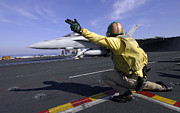 Carrier Prints - A Shooter Signals The Launch Of An Print by Stocktrek Images