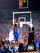 Basketball Painting Posters - A Shot to Remember - 2008 National Champions Poster by Tom Roderick