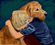 Canines Painting Framed Prints - A Shoulder to Cry On Framed Print by Shere Crossman