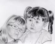 Sisters Drawings - A shoulder to lean on  by Patrick Entenmann