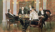 Cigars Paintings - A Showdown by Albert Beck Wenzell