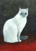 Cat Paintings - A Siamese Cat On Red Mat by Jingfen Hwu