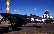 Airfield Prints - A Side View Of A U.s. Marine Corps F4u Print by Michael Wood