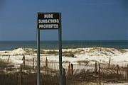 Sand Fences Prints - A Sign On A Public Beach Warns Of No Print by Raymond Gehman