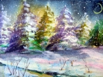 Wildlife Landscape Drawings - A Silent Night by Mindy Newman