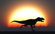 Paleozoology Art - A Silhouetted Allosaurus Sprinting by Mark Stevenson