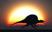 Talon Digital Art Posters - A Silhouetted Spinosaurus Sprinting Poster by Mark Stevenson