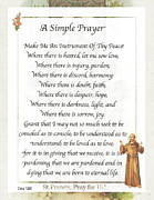 A Simple Prayer By Saint Francis Print by Claudette Armstrong