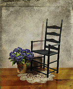 Ladderback Chair Metal Prints - A Simpler Time Metal Print by Judi Bagwell