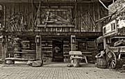 Log Cabin Prints - A Simpler Time sepia Print by Steve Harrington