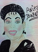 Baker Drawings Prints - A Singer Anita Baker Print by Charita Padilla