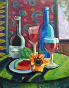 Wine Bottle Mixed Media Framed Prints - A sip or two Framed Print by Katherine Boritzke