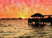 Sunset Seascape Mixed Media Prints - A Site to Behold Print by Florene Welebny