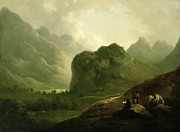 The Horse Prints - A Sketching Party in the Pass at Borrowdale Print by Julius Caesar Ibbetson