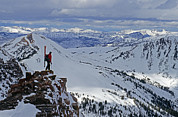 Cooke Photos - A Skier Overlooks Absaroka Range by Gordon Wiltsie