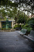 Park Benches Photos - A Small Courtyard In A City Park by Hannele Lahti