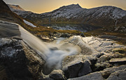 Sunset In Norway Photo Prints - A Small Creek Running Print by Arild Heitmann