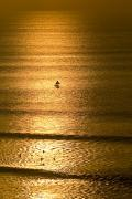 Surf Silhouette Prints - A Small Fishing Boat Heads Out To Sea Print by Jason Edwards