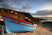 Cape Cornwall Posters - A small fishing boat Priests cove Cape Cornwall Poster by Mark Stokes