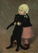 Standing Painting Framed Prints - A Small Girl with a Cat Framed Print by TA Steinlen