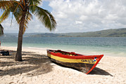 Greater Antilles Posters - A Small Wooden Boat On The Beach Poster by Hibberd, Shannon