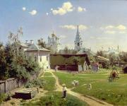 Moscow Framed Prints - A Small Yard in Moscow Framed Print by Vasilij Dmitrievich Polenov