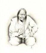 Native Chief Drawings - A Smoke by Robert Martinez