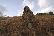 Ghillie Suits Prints - A Sniper Dressed In A Ghillie Suit Print by Andrew Chittock
