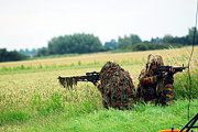 Ghillie Suits Prints - A Sniper Unit Of The Paracommandos Print by Luc De Jaeger