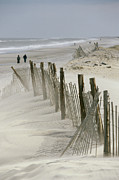 Sand Fences Prints - A Snow Fence Stretches Across A Dune Print by Skip Brown