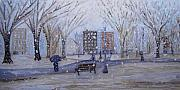 Park Scene Paintings - A Snowy Afternoon in the Park by Daniel W Green