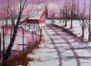 Snowy Roads Painting Prints - A Snowy Day Print by Jamie Frier