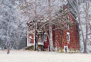 Old House Photographs Metal Prints - A Snowy Night Metal Print by Kathy Jennings