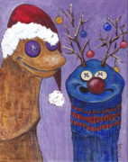 Rudolph Painting Prints - A Sock Puppet Christmas Print by Robin Wiesneth