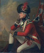 Red White Blue Paintings - A soldier called Major John Andre by English School